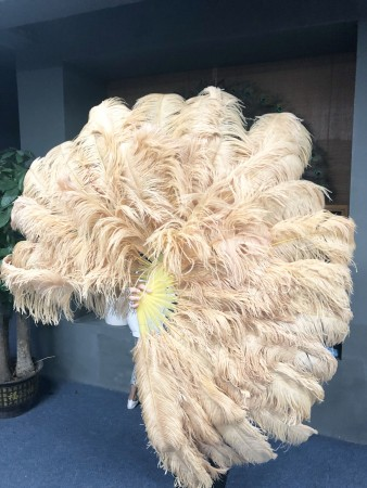 "Wheat XL 2 layers Ostrich Feather Fan Burlesque dancer friends 34""x 60"" with leather travel Bag"