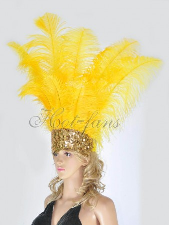 yellow Sharp Angle Ostrich Feathers Open Face  Headgear Headdress