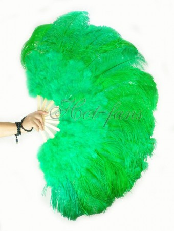"emerald green Ostrich & Marabou Feathers fan Burlesque dance with carrying case 27""x 53"""