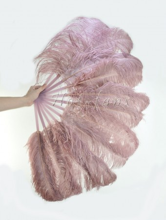 "Beige wood single layer Ostrich Feather Fan 25""x 45"" with leather travel Bag"