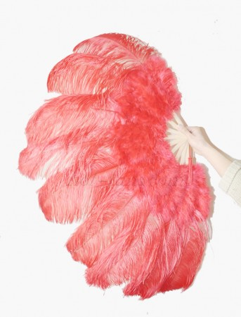 "Red Ostrich & Marabou Feathers fan Burlesque dance with Travel leather Bag 24""x43"""