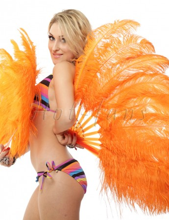 """orange single layer Ostrich Feather Fan 25""""x 45"""" with leather travel Bag"""