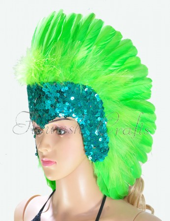 green feather sequins crown las vegas dancer showgirl headgear headdress