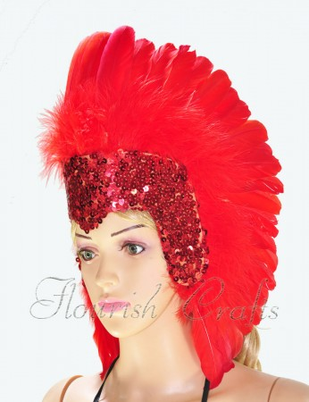 red feather sequins crown las vegas dancer showgirl headgear headdress