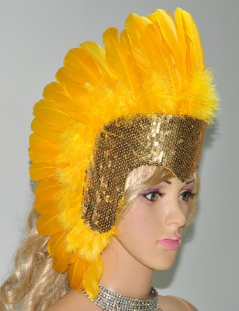 Gold yellow feather sequins crown las vegas dancer showgirl headgear headdress