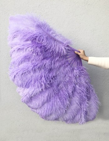 "Aqua violet XL 2 layers Ostrich Feather Fan 34""x 60"" with leather travel Bag"