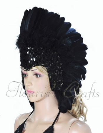 Black feather sequins crown las vegas dancer showgirl headgear headdress