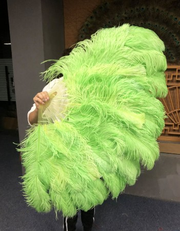 """Fluorescent green XL 2 layers Ostrich Feather Fan 34""""x 60"""" with leather travel Bag"""