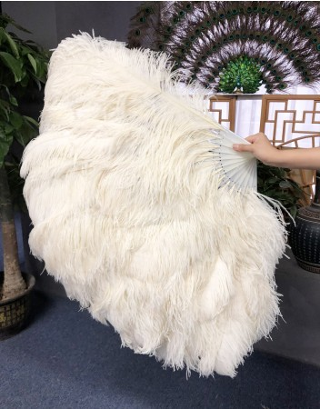"Burlesque friend beige 3 Layers Ostrich Feather Fan 65"" with Travel leather Bag"