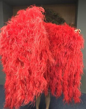 """Burlesque Red Waterfall Fan Fluffy Ostrich Feathers Boa Fan 42""""x 78"""""""