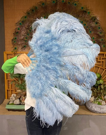 """baby blue Ostrich & Marabou Feathers fan Burlesque dance with Travel leather Bag 24""""x43"""""""
