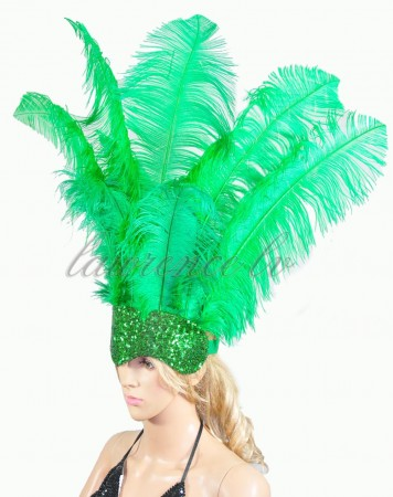 emerald green Sharp Angle Ostrich Feathers Open Face  Headgear Headdress