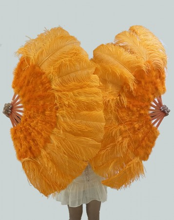 """orange Ostrich & Marabou Feathers fan 27""""x 53""""  with Travel leather Bag"""