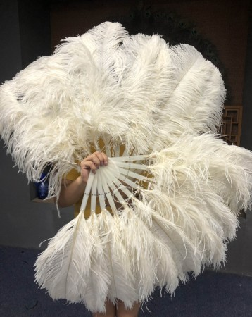 "A pair Beige Single layer Ostrich Feather fan 24""x 41"" with leather travel Bag"