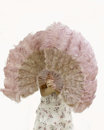 """beige wood Marabou Ostrich Feather fan 21""""x38"""" with Travel leather Bag"""
