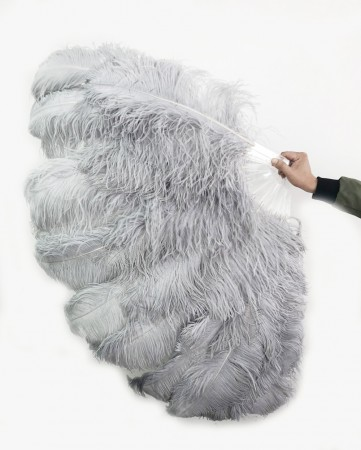 """Ligth gray XL 2 layers Ostrich Feather Fan Burlesque dancer friends 34""""x 60"""" with leather travel Bag"""