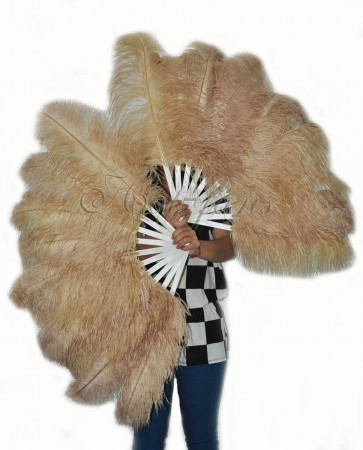 """A pair wheat Single layer Ostrich Feather fan 24""""x41"""" burlesque dancer with gift box"""