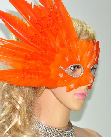 Orange MardiGras Masquerade Feather Eye Mask
