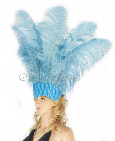 baby blue Sharp Angle Ostrich Feathers Open Face  Headgear Headdress