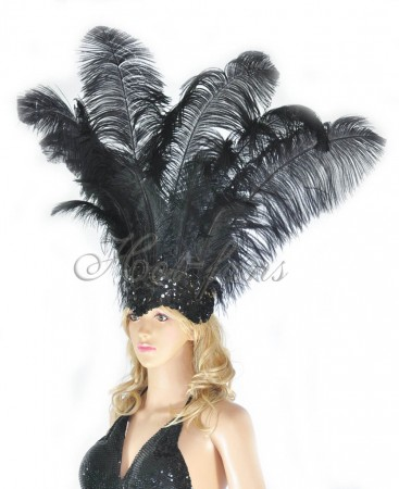 black Sharp Angle Ostrich Feathers Open Face  Headgear Headdress