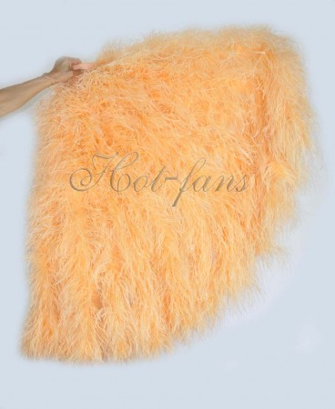 "Burlesque Orange Waterfall Fan Fluffy Ostrich Feathers Boa Fan 42""x 78"""