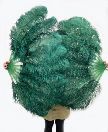 "A pair Forest Green Single layer Ostrich Feather fan 24""x 41"" with leather travel Bag"