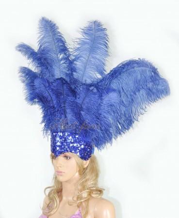 royal blue Sharp Angle Ostrich Feathers Open Face  Headgear Headdress