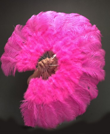 "hot pink Marabou Ostrich Feather fan primary Burlesque Dance 21""x38"" with Travel leather Bag"