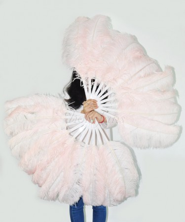 blush Single layer Ostrich Feather fan
