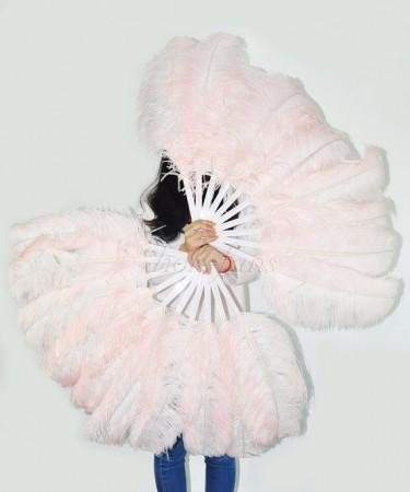blush Single layer Ostrich Feather fan