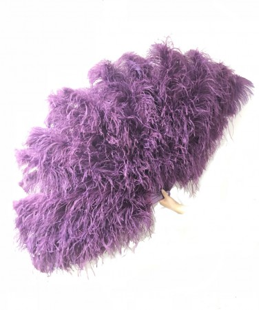 Dark purple Luxury 4 Layers  Ostrich Feather Fan fluffy with Boa Opened 67'' Burlesque