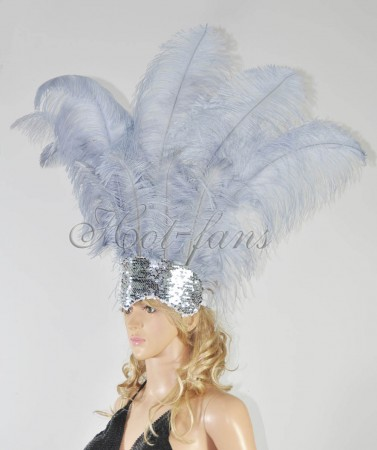 dark gray Sharp Angle Ostrich Feathers Open Face  Headgear Headdress