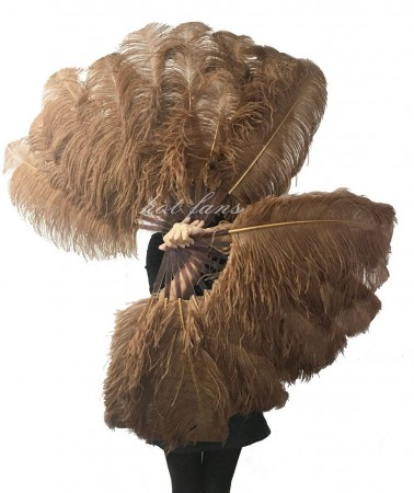"A pair caramel Single layer Ostrich Feather fan 24""x41""  with leather travel Bag"