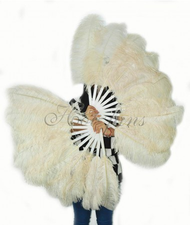 """A pair beige Single layer Ostrich Feather fan 24""""x41"""" burlesque dancer with gift box"""