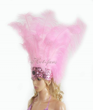 pink Sharp Angle Ostrich Feathers Open Face  Headgear Headdress