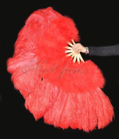 "Red Ostrich & Marabou Feathers fan 27""x 53"" with Travel leather Bag"
