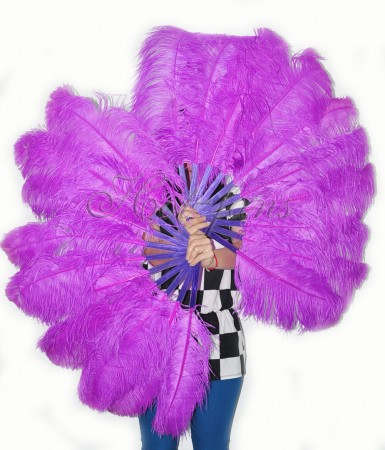 "A pair lavender Single layer Ostrich Feather fan 24""x 41"" with leather travel Bag"