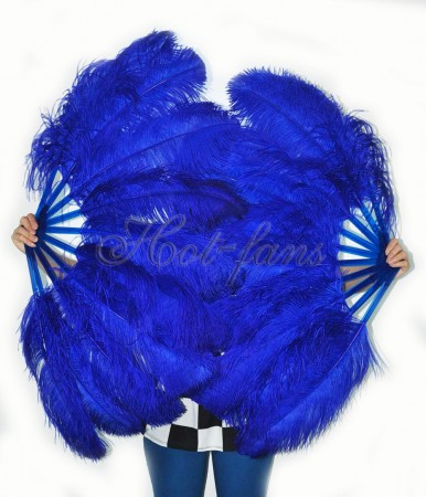 "A pair royal blue Single layer Ostrich Feather fan 24""x 41"" with leather travel Bag"