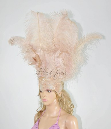 Beige Camel Sharp Angle Ostrich Feathers Open Face  Headgear Headdress