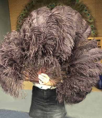 "A pair coffee Single layer Ostrich Feather fan 24""x 41"" with leather travel Bag"