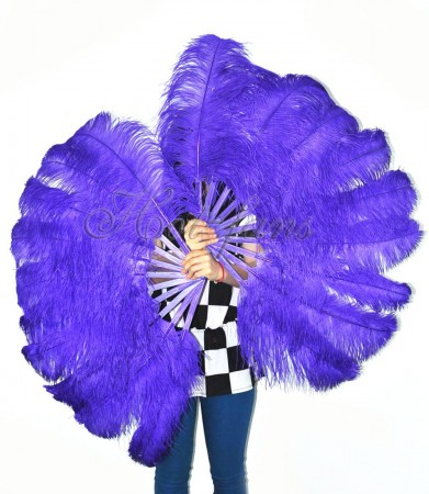 "A pair violet Single layer Ostrich Feather fan 24""x 41"" with leather travel Bag"