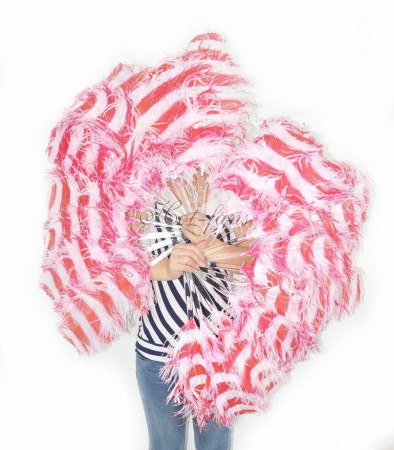"A pair secondary red & white color Single layer Ostrich Feather fan 24""x41"" with leather travel Bag"