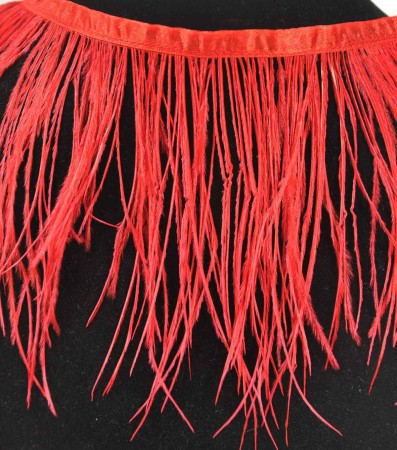 "Ostrich Feather Fringe (182 cm ) 2 yard trim 5""-6"" (13cm-15cm) in Red Color"