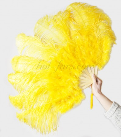 "Gold Yellow Ostrich & Marabou Feathers fan Burlesque dance with Travel leather Bag 24""x43"""