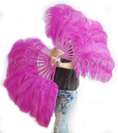 "A pair hot pink Single layer Ostrich Feather fan 24""x41"" with leather travel Bag"