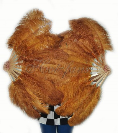 """A pair topaz Single layer Ostrich Feather fan 24""""x 41"""" with leather travel Bag"""