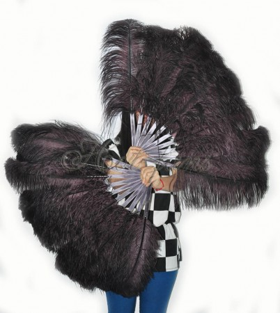 """A pair coffee Single layer Ostrich Feather fan 24""""x41"""" burlesque dancer with gift box"""