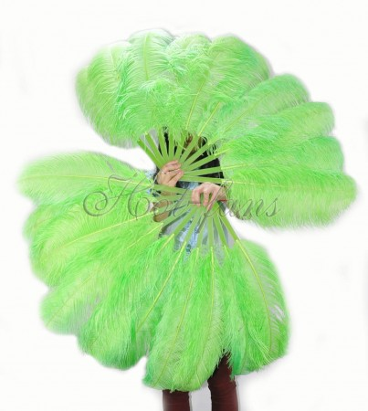 "A pair fluorescent green Single layer Ostrich Feather fan 24""x 41"" with leather travel Bag"