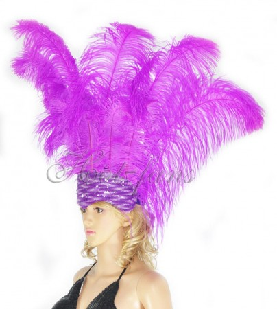 lavender Sharp Angle Ostrich Feathers Open Face  Headgear Headdress