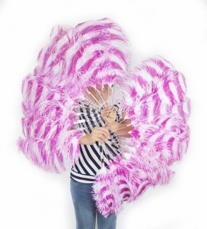 "A pair secondary hotpink & white color Single layer Ostrich Feather fan 24""x 41"" with leather travel Bag"